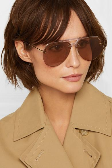 Alexander McQueen Aviator-style Acetate And Gold-tone Sunglasses in Brown