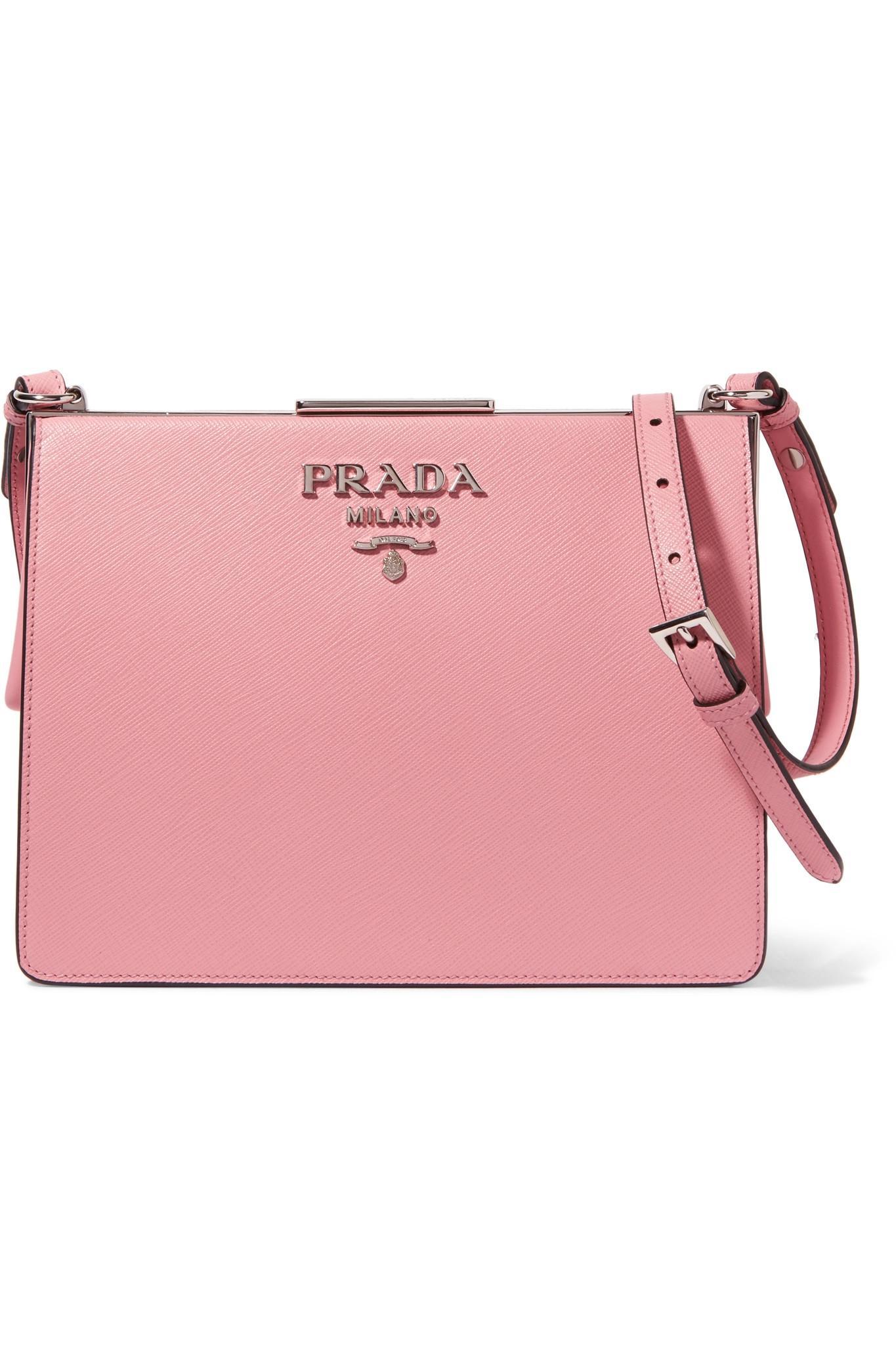 349351f3a5 Prada Frame Textured-leather Shoulder Bag in Pink - Lyst