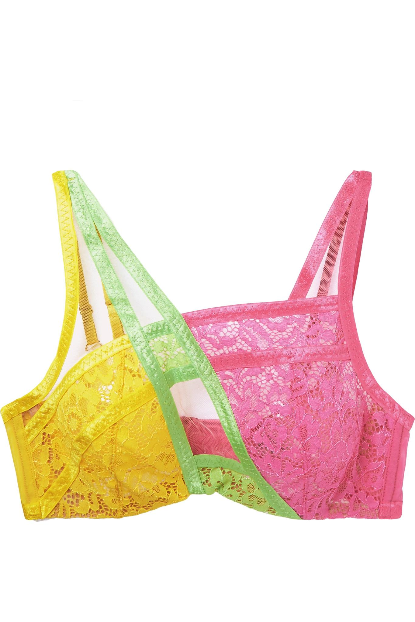 11d540ffe Agent Provocateur. Women s Yellow Marty Neon Mesh-trimmed Color-block  Stretch-lace Underwired Bra