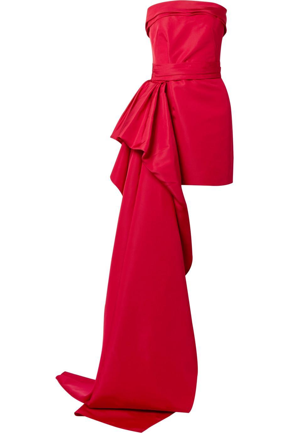 Lyst - Reem Acra Silk-faille Mini Dress in Red