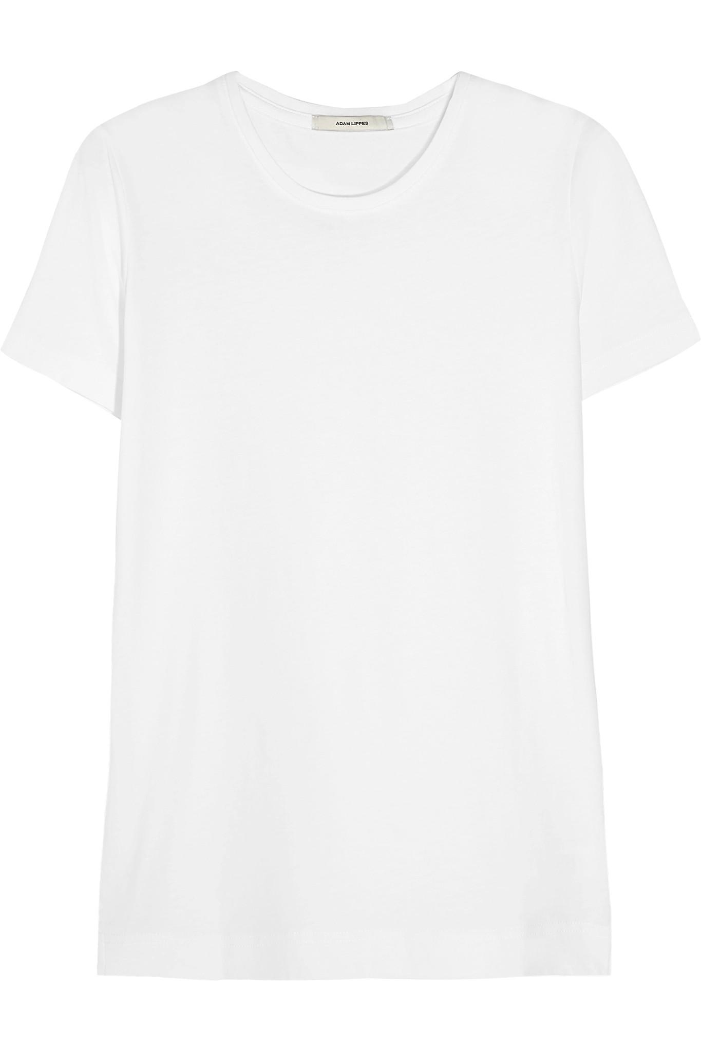 Adam lippes pima cotton t shirt in white lyst for Adam lippes t shirt