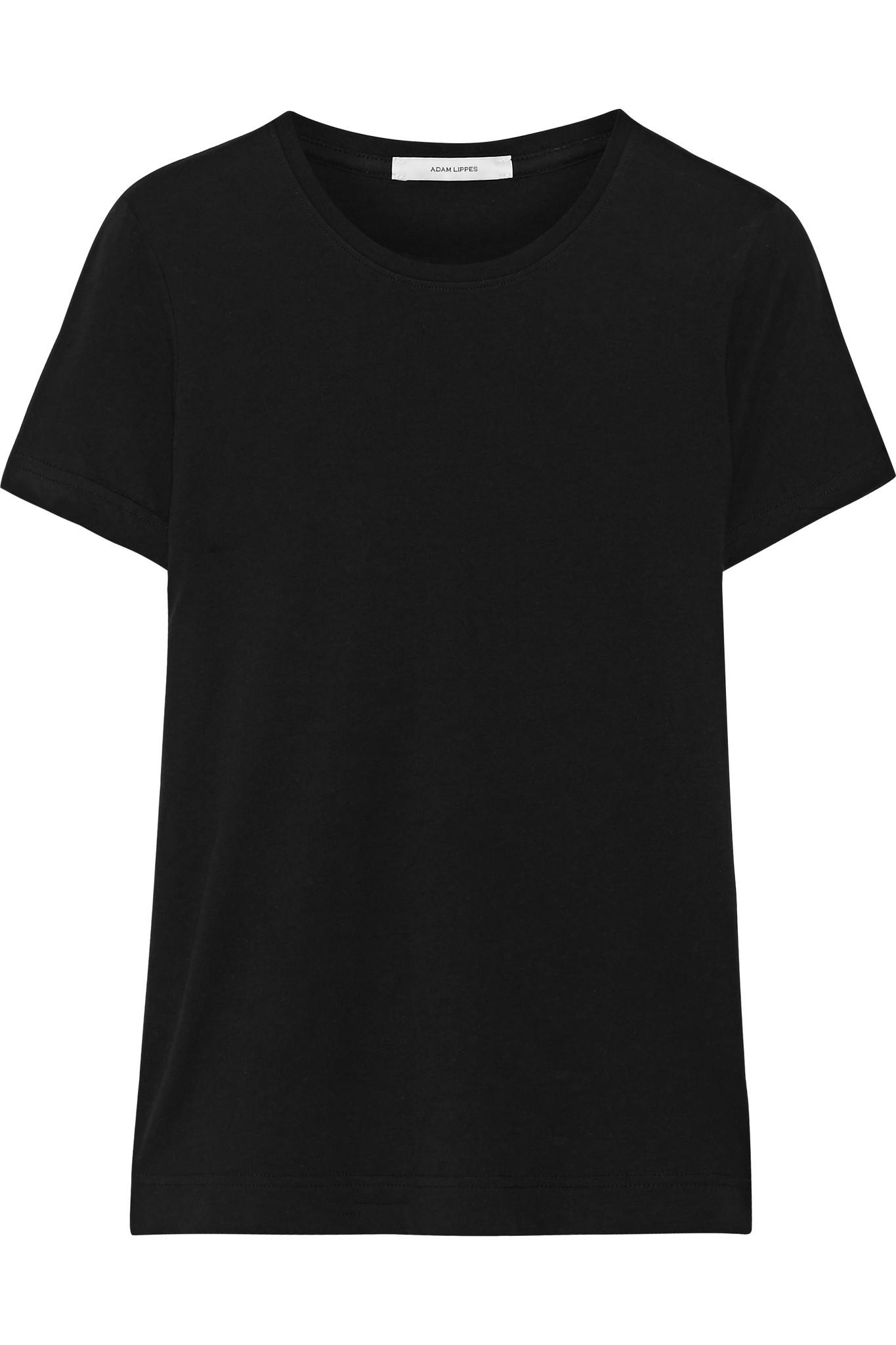 Adam lippes pima cotton t shirt in black lyst for Adam lippes t shirt