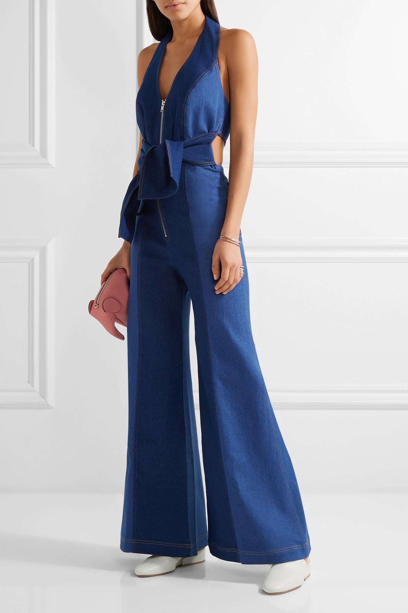 1a7ce5bfb98c Lyst - Paper London Soleil Two-tone Denim Halterneck Jumpsuit in Blue