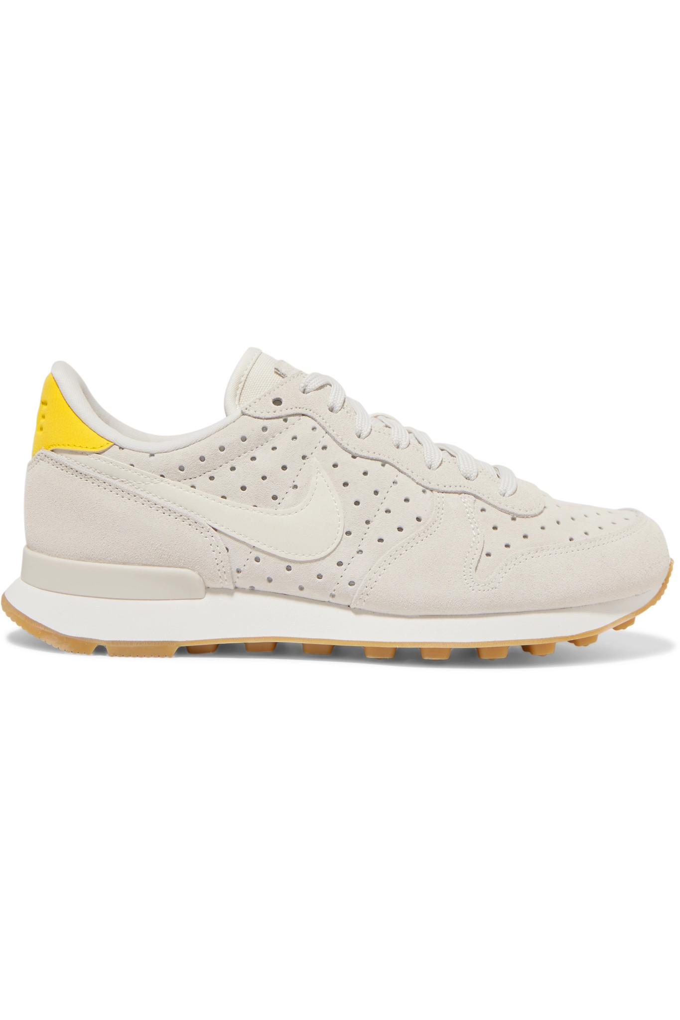 463891f0f31e Nike Internationalist Perforated Leather And Suede Sneakers in White ...