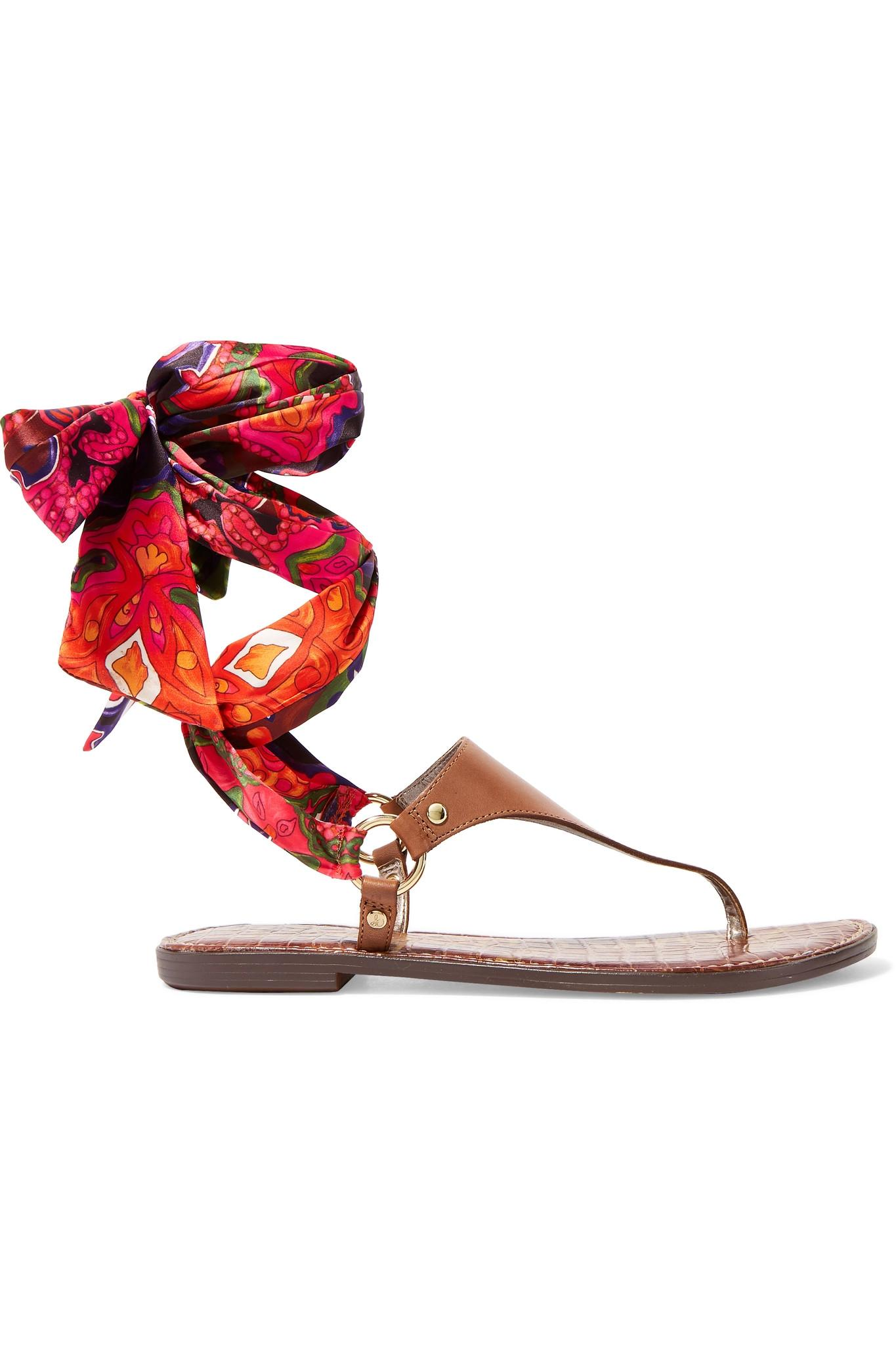 dcacfbb0f5e Lyst - Sam Edelman Giliana Leather And Printed Satin Sandals in Brown