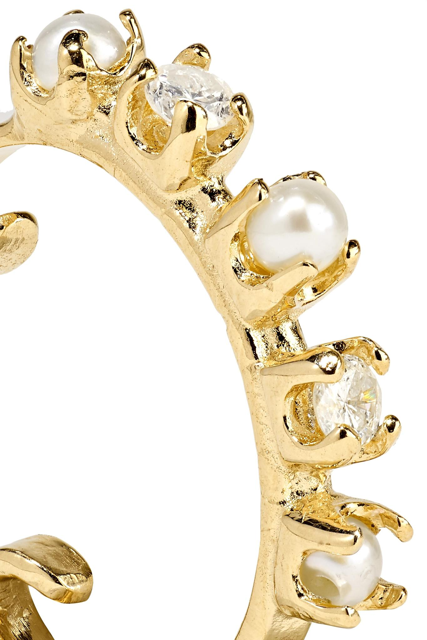 Loren Stewart 14-karat Gold, Diamond And Pearl Ear Cuff
