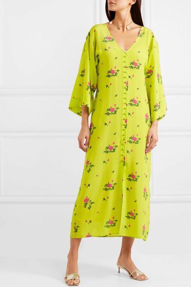 Robe Midi En Crêpe De Chine De Soie À Imprimé Fleuri Soie BERNADETTE en coloris Jaune