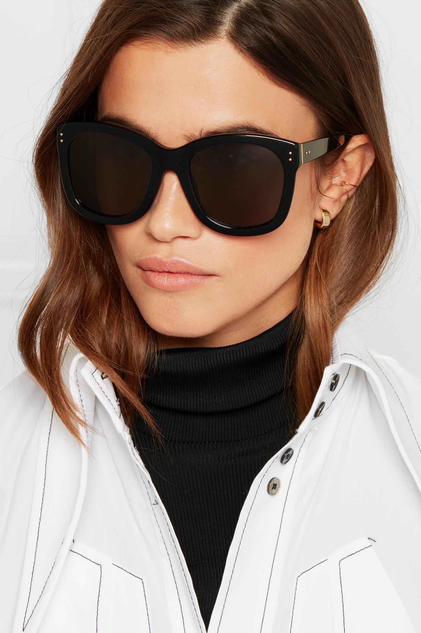 Linda Farrow Oversized Square-frame Acetate Sunglasses in Black