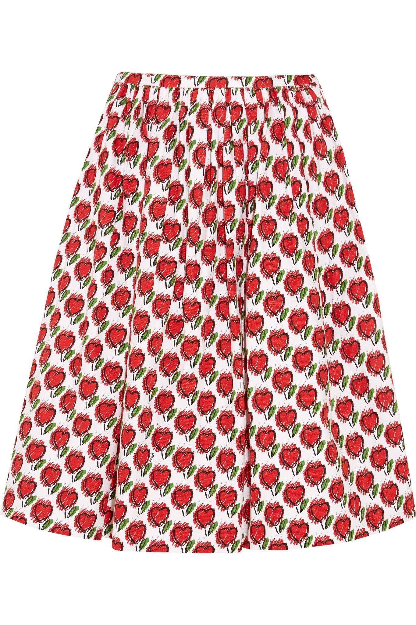 prada printed stretch denim skirt in lyst