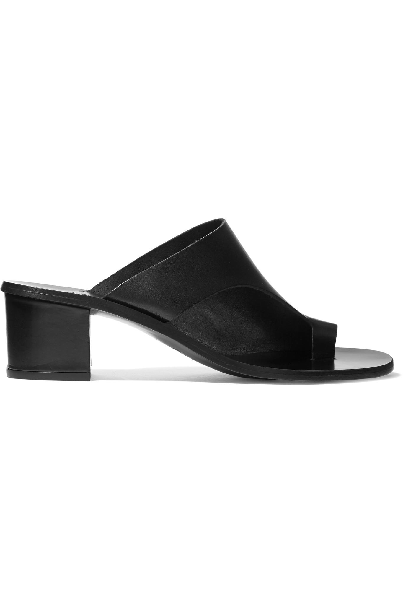 Atp atelier Cyla Cutout Leather Sandals in Black