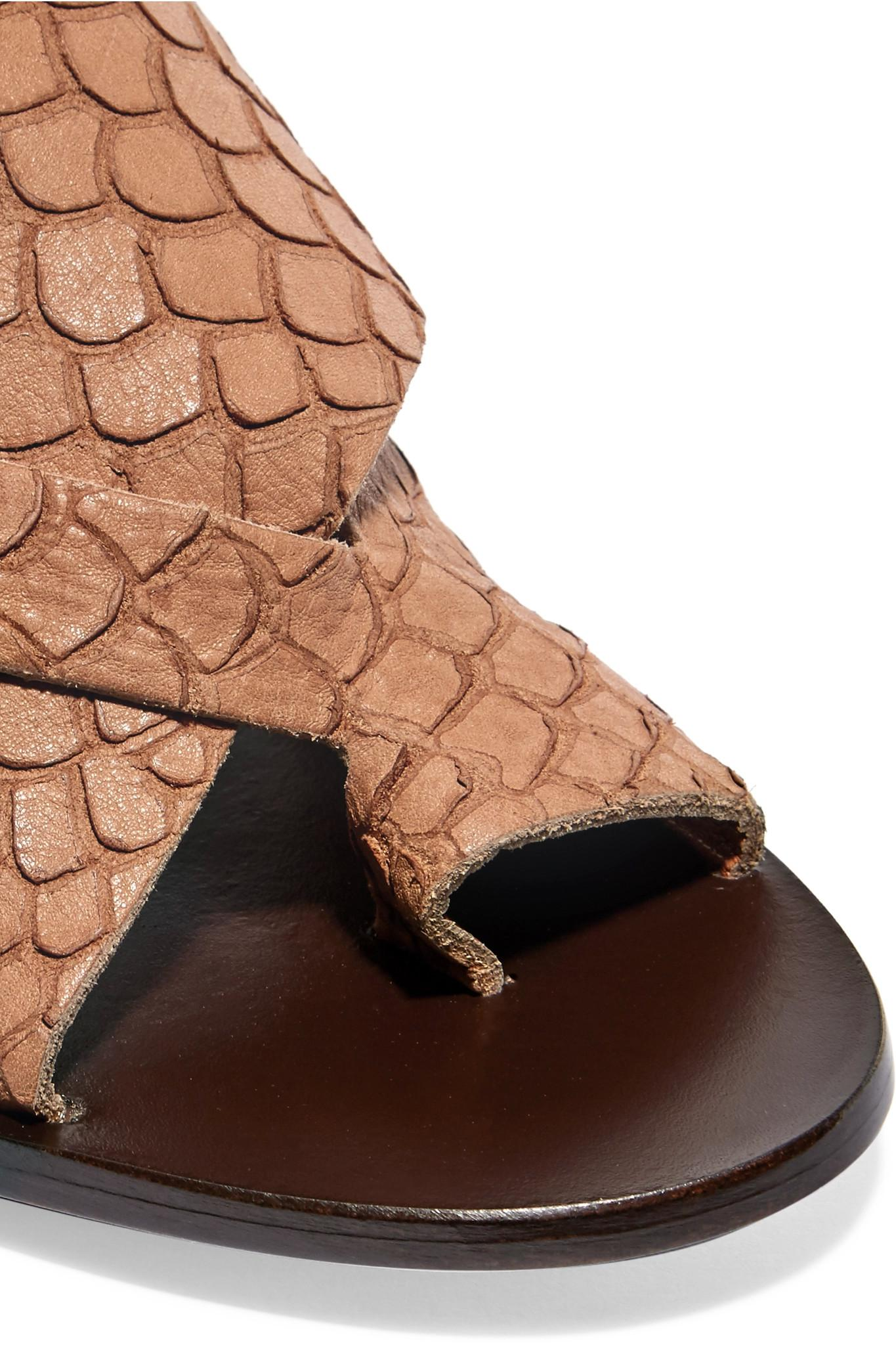 365212d2356e53 Lyst - Atp Atelier Felicia Snake-effect Leather Sandals in Brown