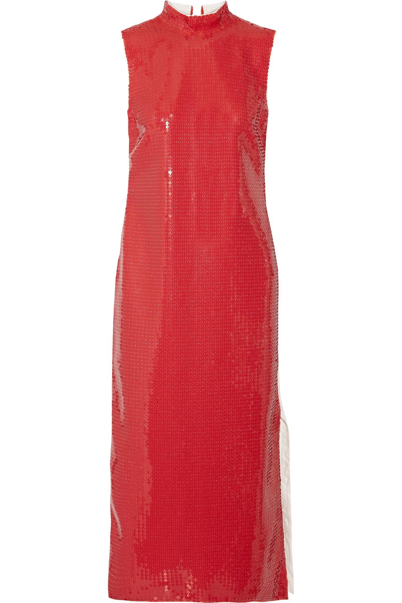 Lyst Loewe Two Tone Sequined Gauze And Linen Midi Dress