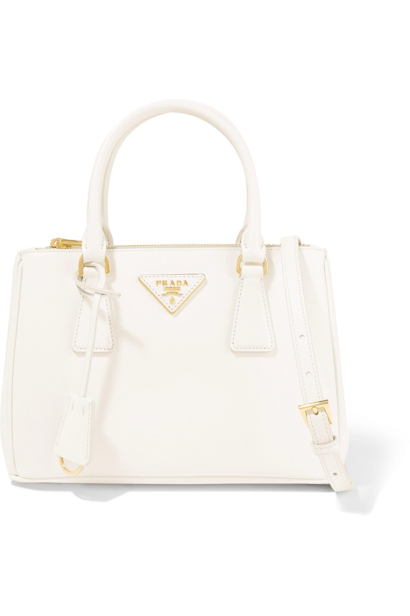 prada galleria small textured leather tote in white lyst. Black Bedroom Furniture Sets. Home Design Ideas
