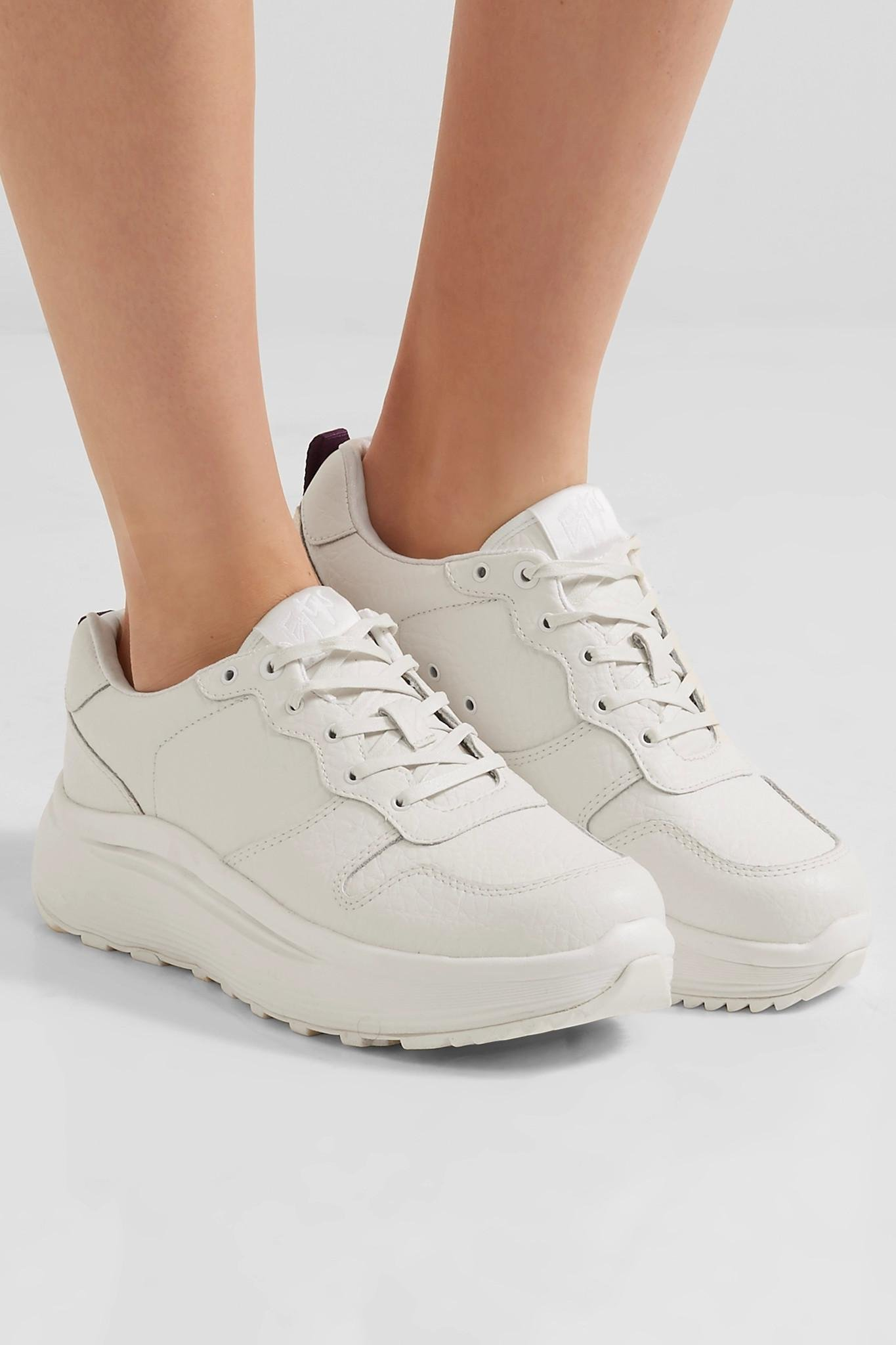 Lyst Eytys Jet Tumbled Textured Leather Sneakers In White