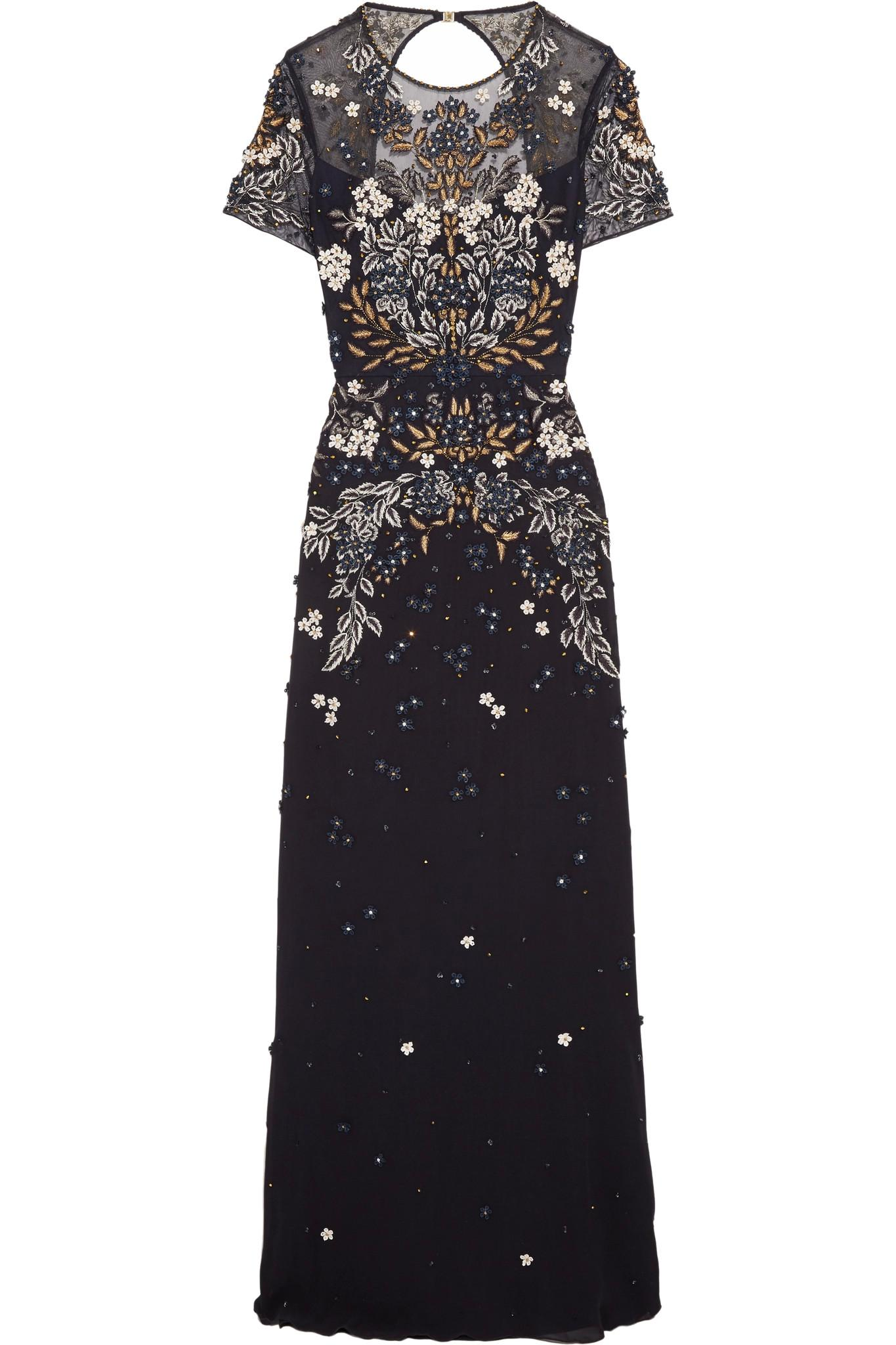 Jenny packham cutout embellished tulle gown in blue lyst