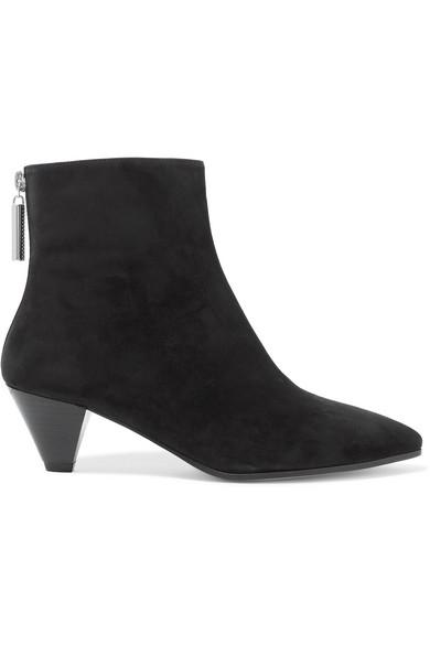 Stuart Weitzman Pyramid Suede Ankle Boots in Black