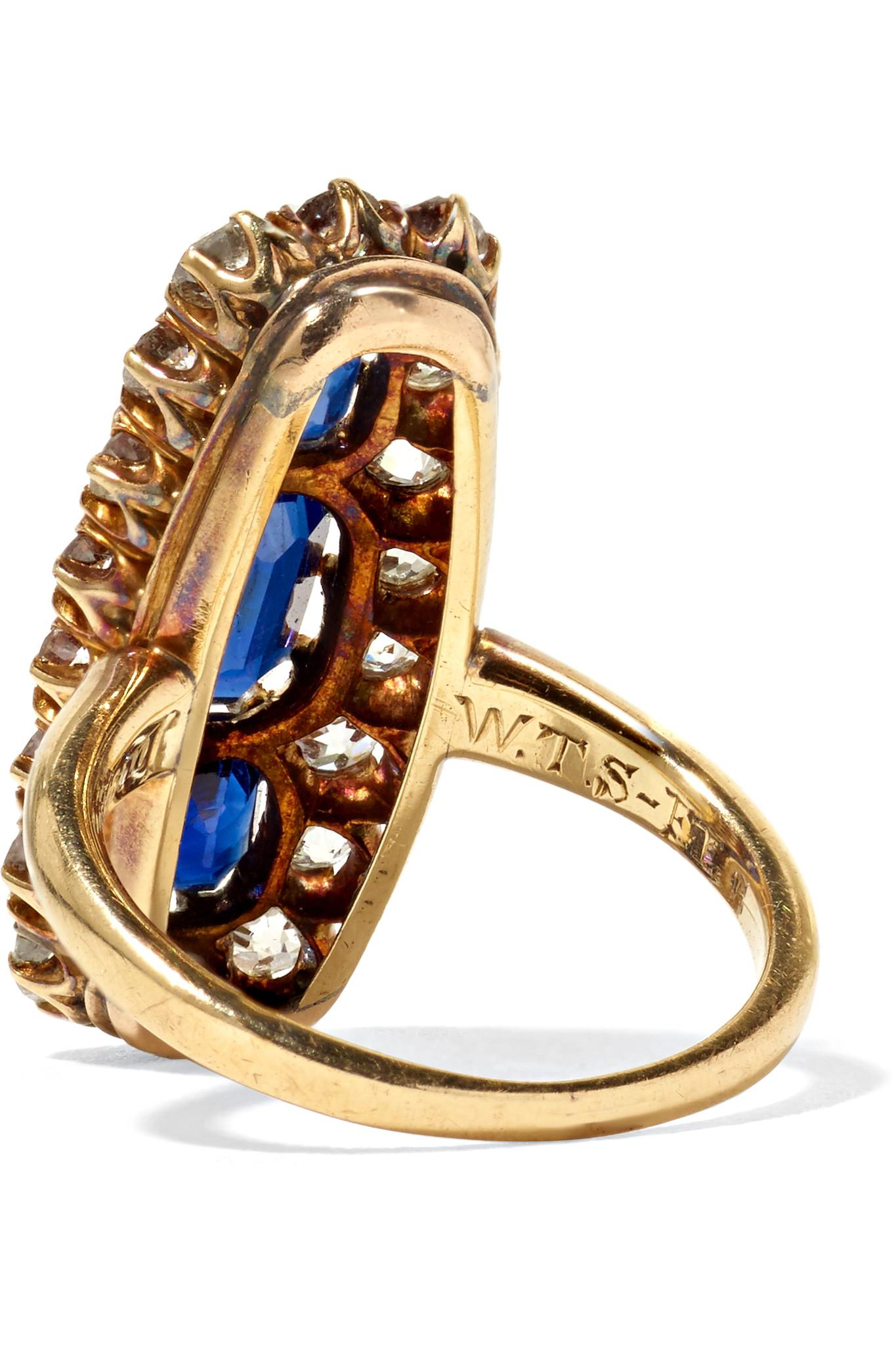 Fred Leighton 1900s 18-karat Gold, Diamond And Sapphire Ring