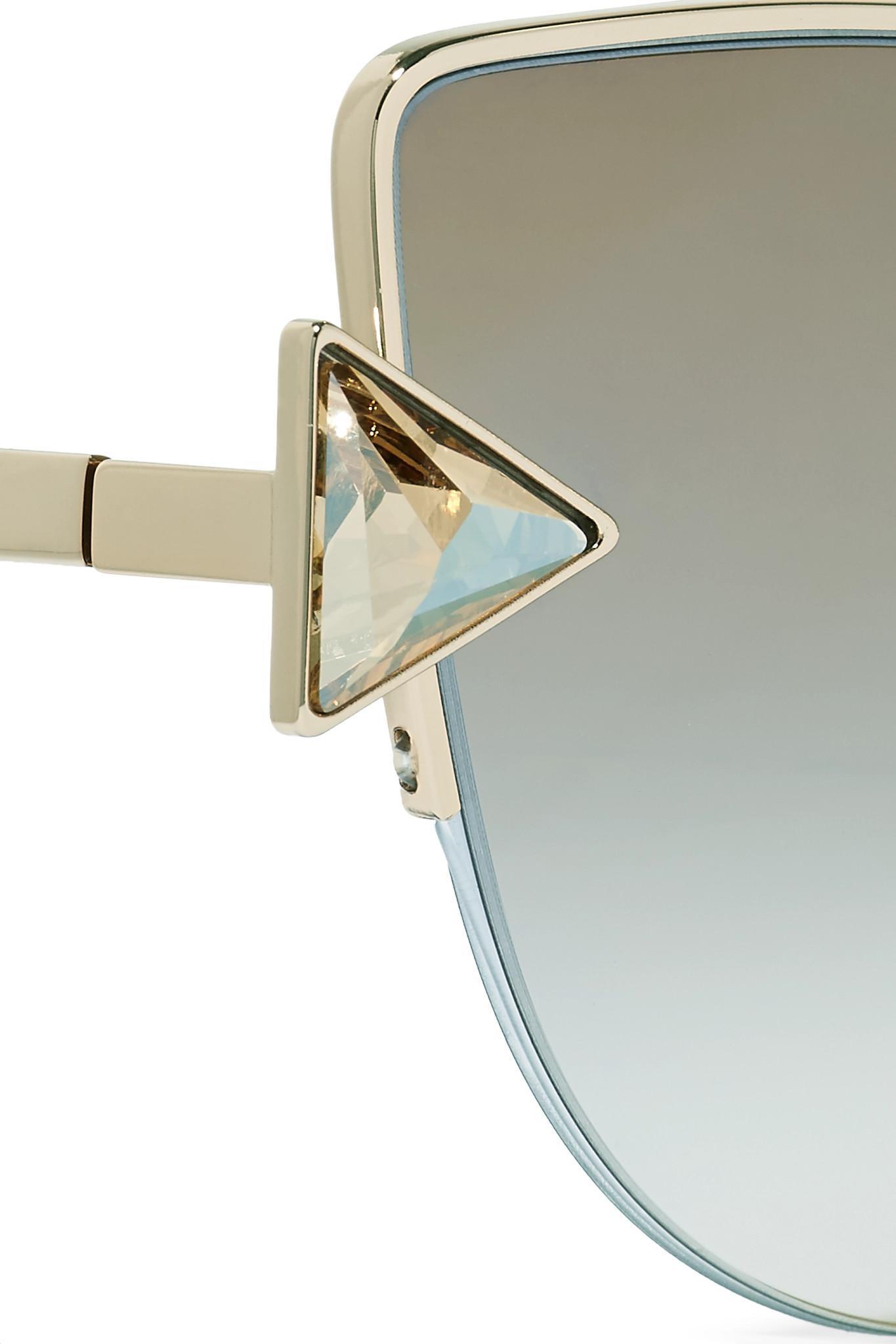 0ed97b7ca Fendi Embellished Cat-eye Gold-tone Mirrored Sunglasses Gold One ...