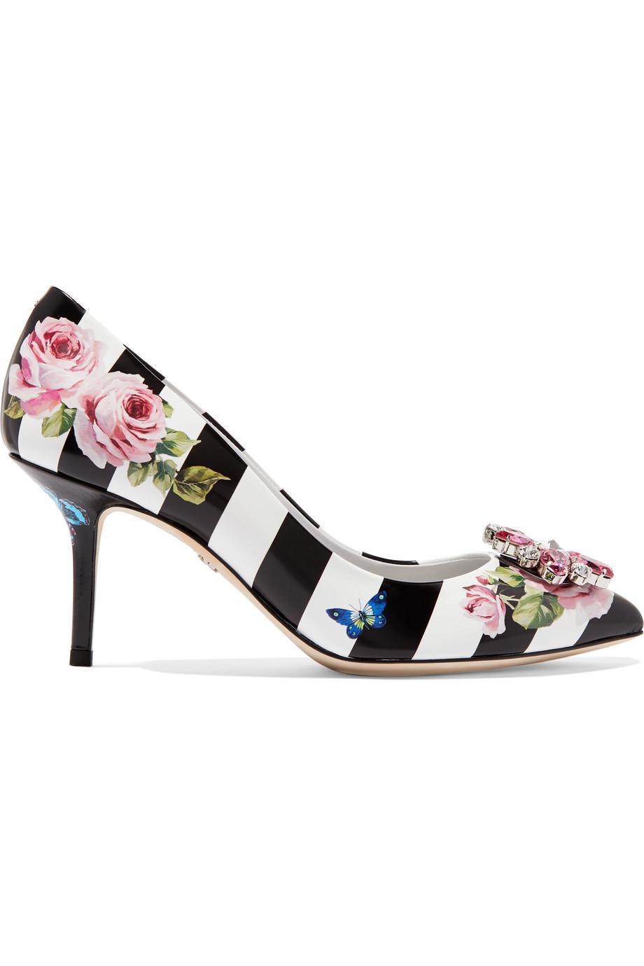 Crystal-embellished Printed Patent-leather Pumps - Black Dolce & Gabbana yXS0oT