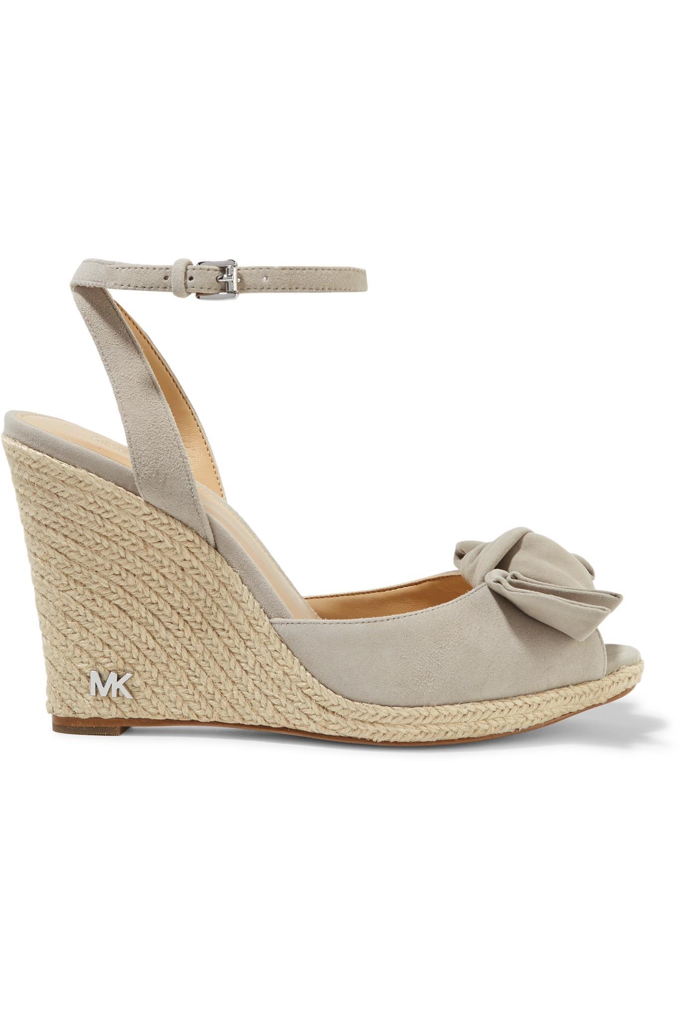 9c86ed726d1 MICHAEL Michael Kors Gray Willa Suede Espadrille Wedge Sandals