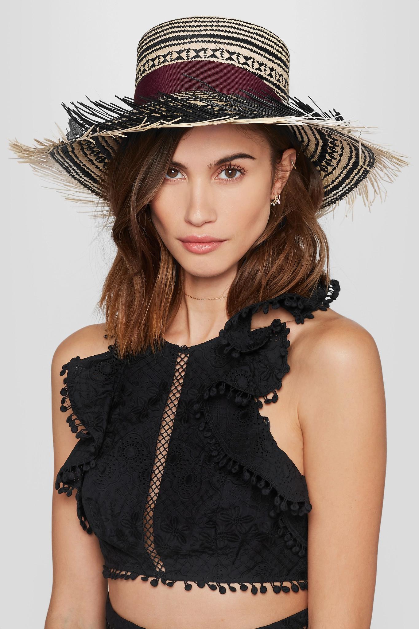 Sensi Studio Black Colombia Frayed Toquilla Straw Panama Hat