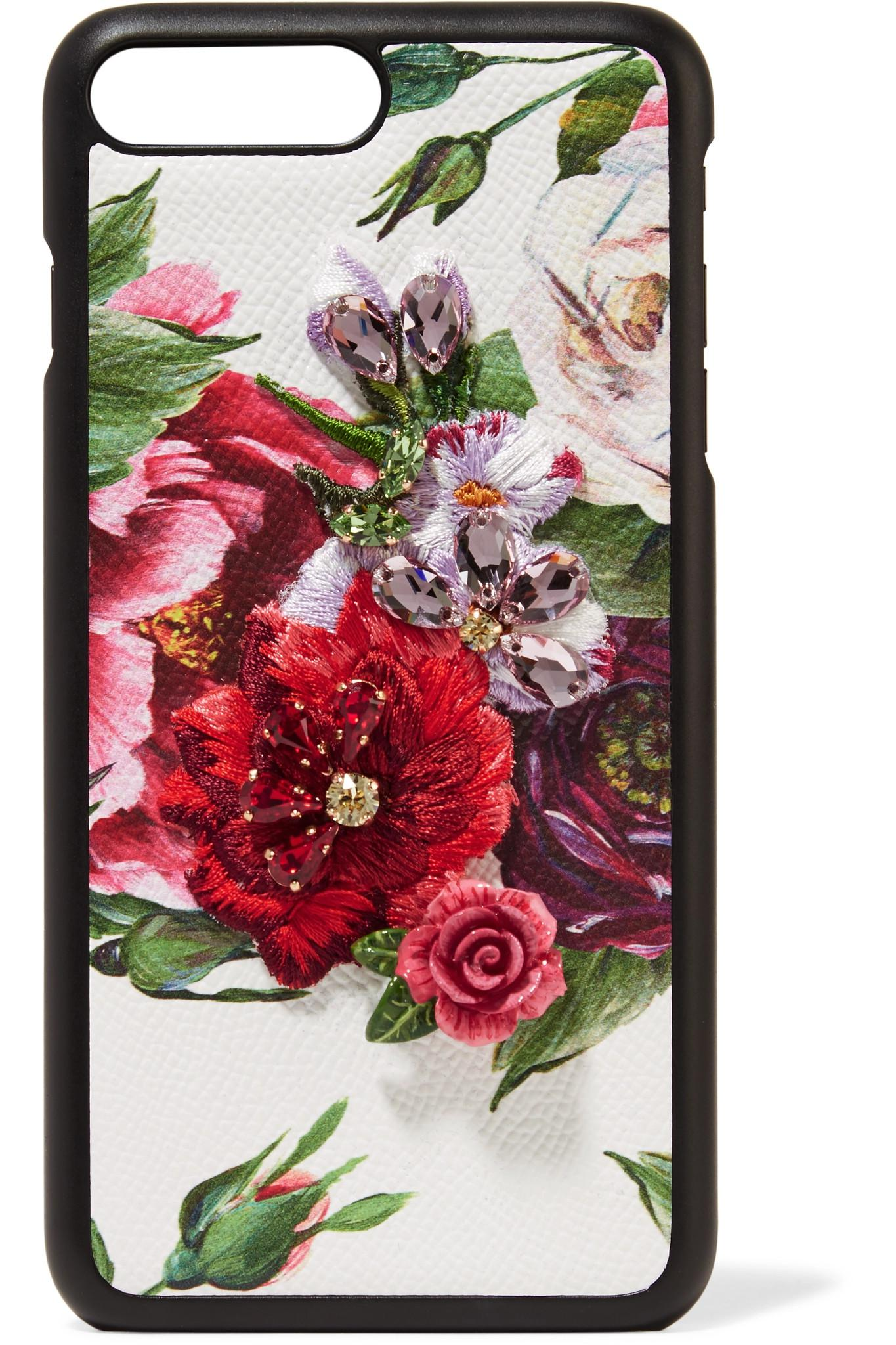Dolce Gabbana Embellished Floral Print Textured Leather Iphone 7