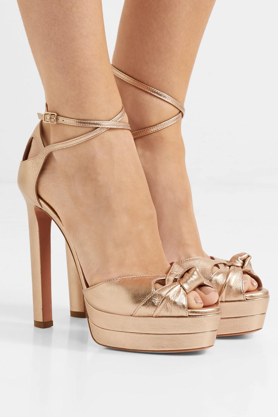 Harlow Metallic Textured-leather Platform Sandals - Bronze Aquazzura Relo4Ix