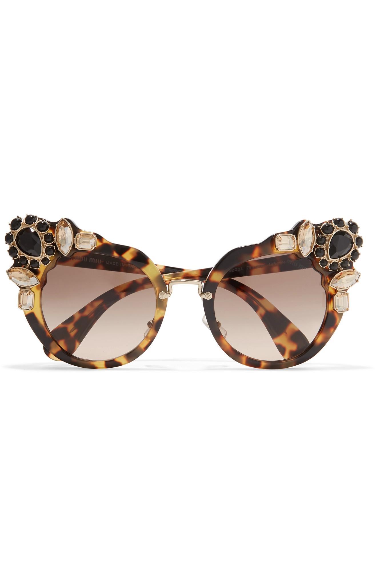 48dc7a8aa463 Fendi Crystal-embellished Cat-eye Acetate Sunglasses