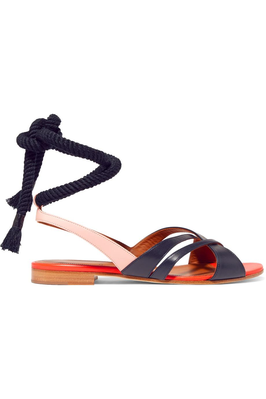 + Roksanda Marlene Color-block Leather Sandals - Midnight blue Malone Souliers mcG8WX
