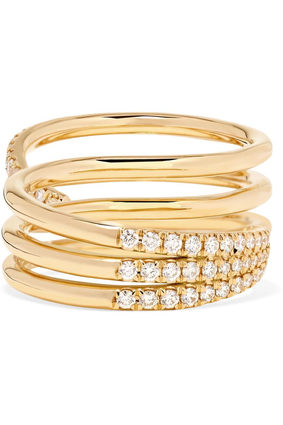 Melissa Kaye 18-karat Gold Diamond Two-finger Ring ISWDDID9iL