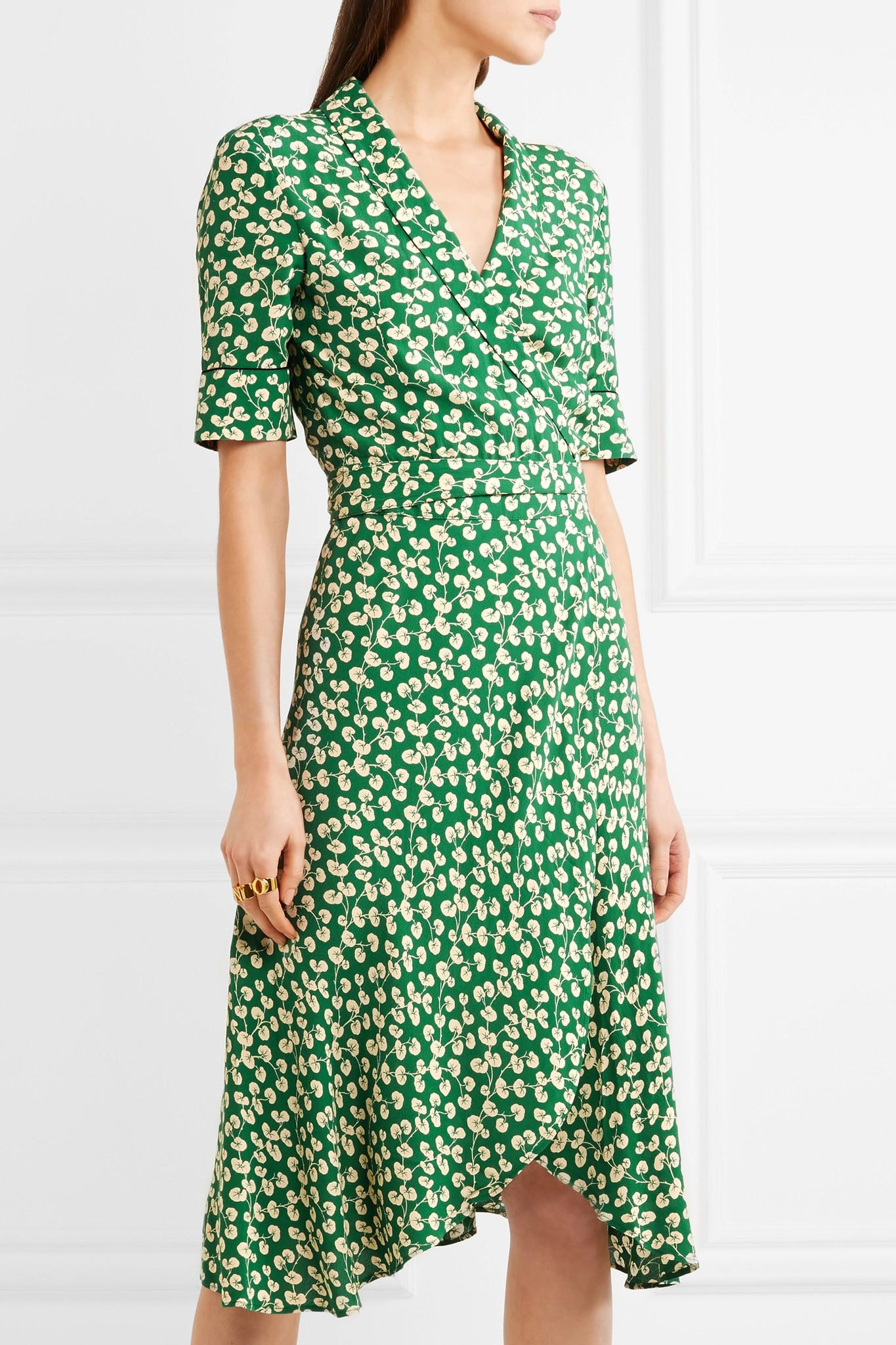 Ganni Dalton Floral Print Crepe Wrap Dress In Green Lyst