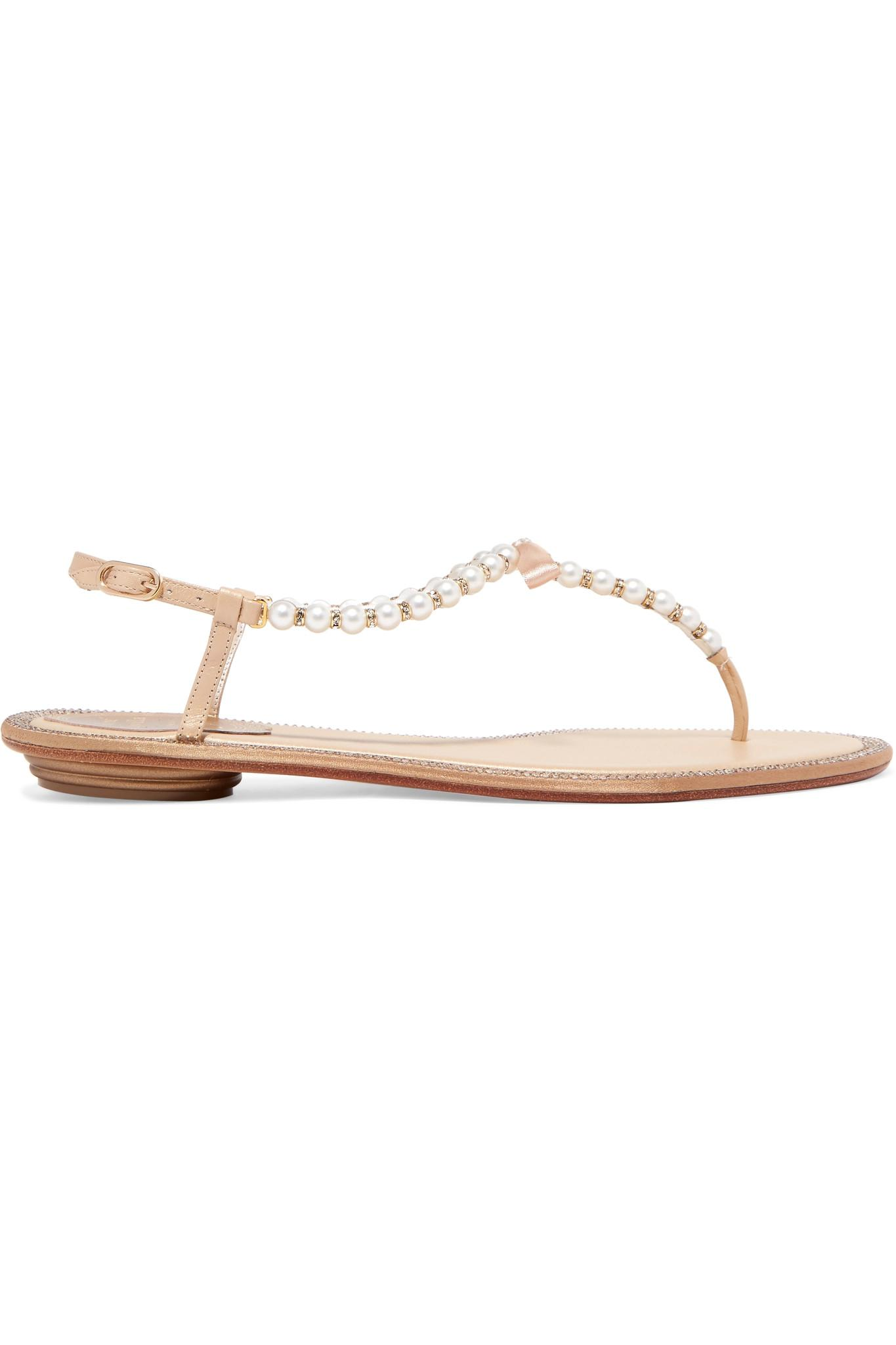 c92bf2786f983 Lyst - Rene Caovilla Eliza Embellished Leather Sandals in White ...