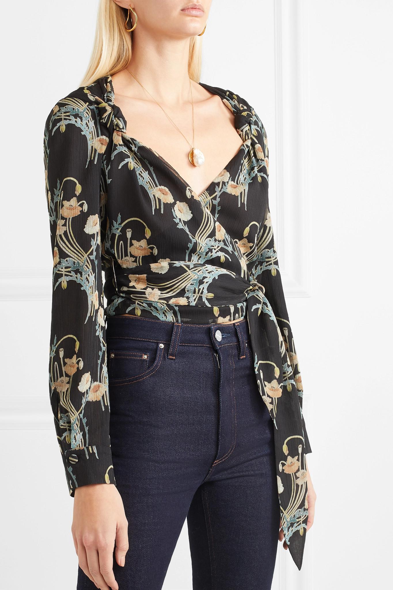 e9a479c176a085 Nanushka - Black Selena Floral-print Crepon Wrap Top - Lyst. View fullscreen