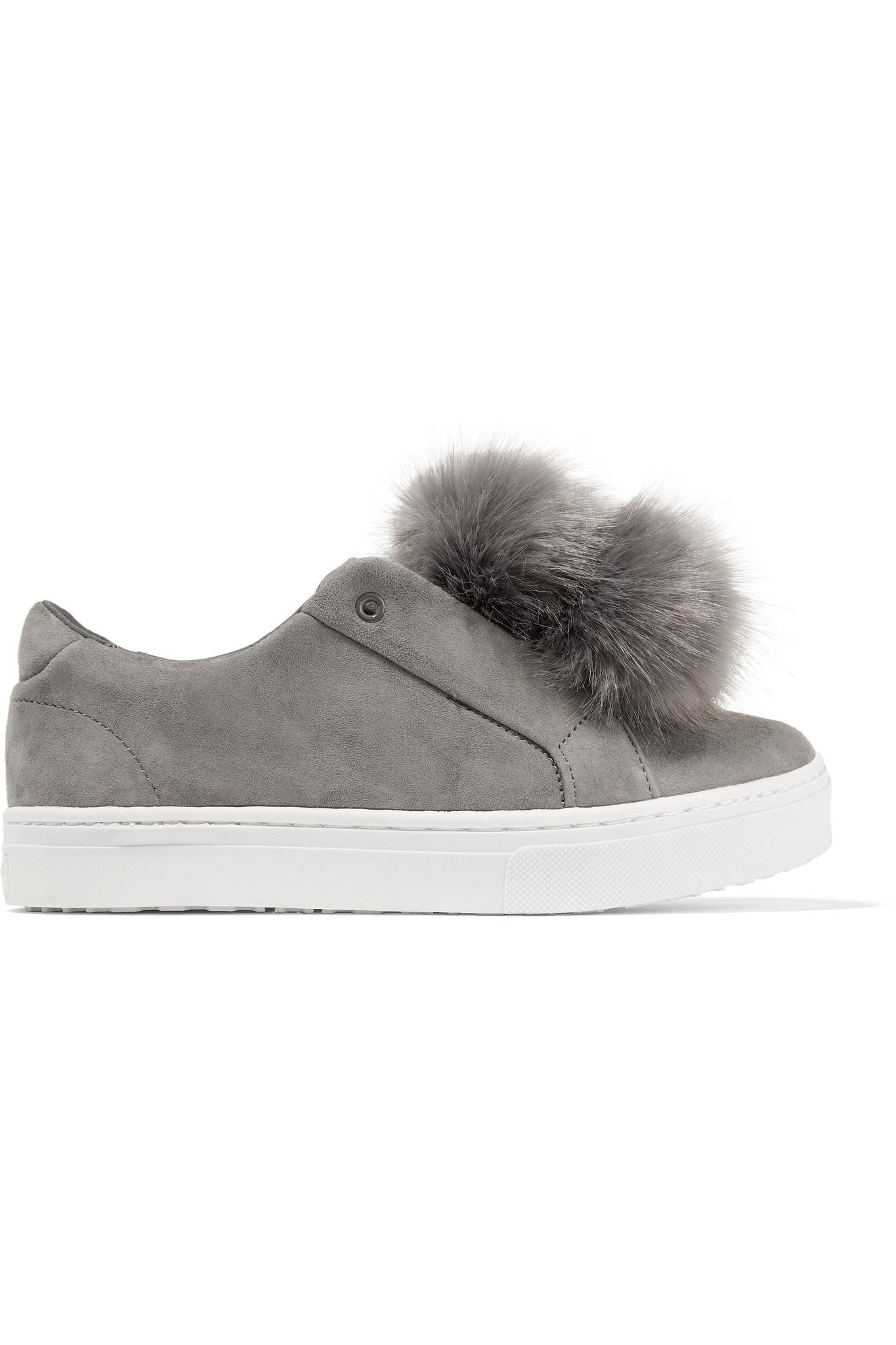 ca116f6a985458 Lyst - Sam Edelman Leya Faux Fur-embellished Suede Slip-on Sneakers ...