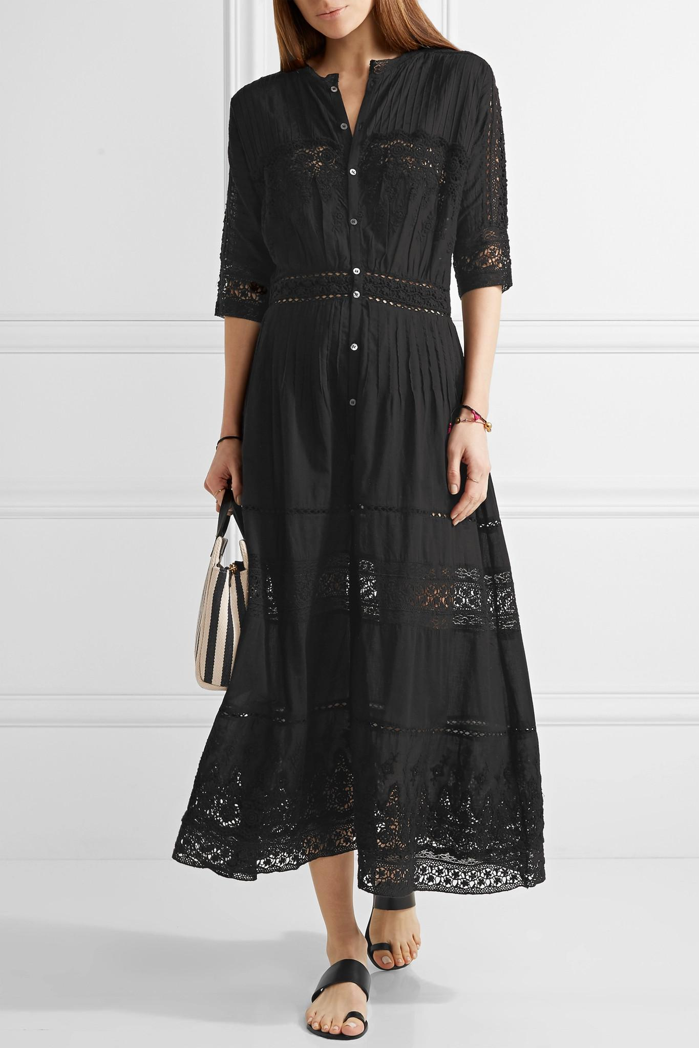 Anthropologie Founder Loveshackfancy Beth Crocheted Lace Paneled Cotton Maxi