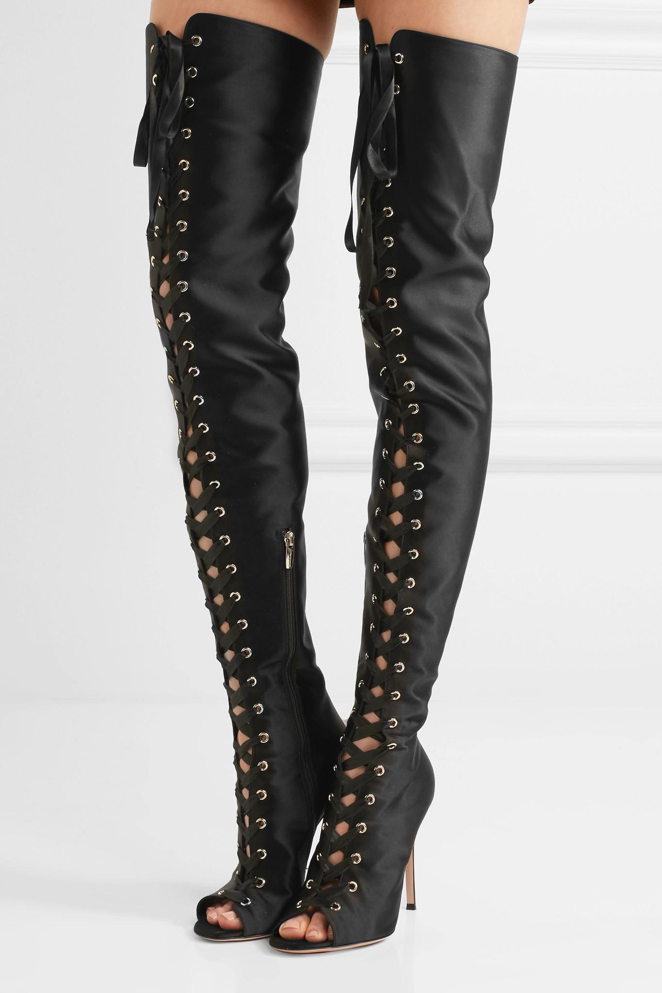 lyst gianvito rossi lace up satin thigh boots in black. Black Bedroom Furniture Sets. Home Design Ideas