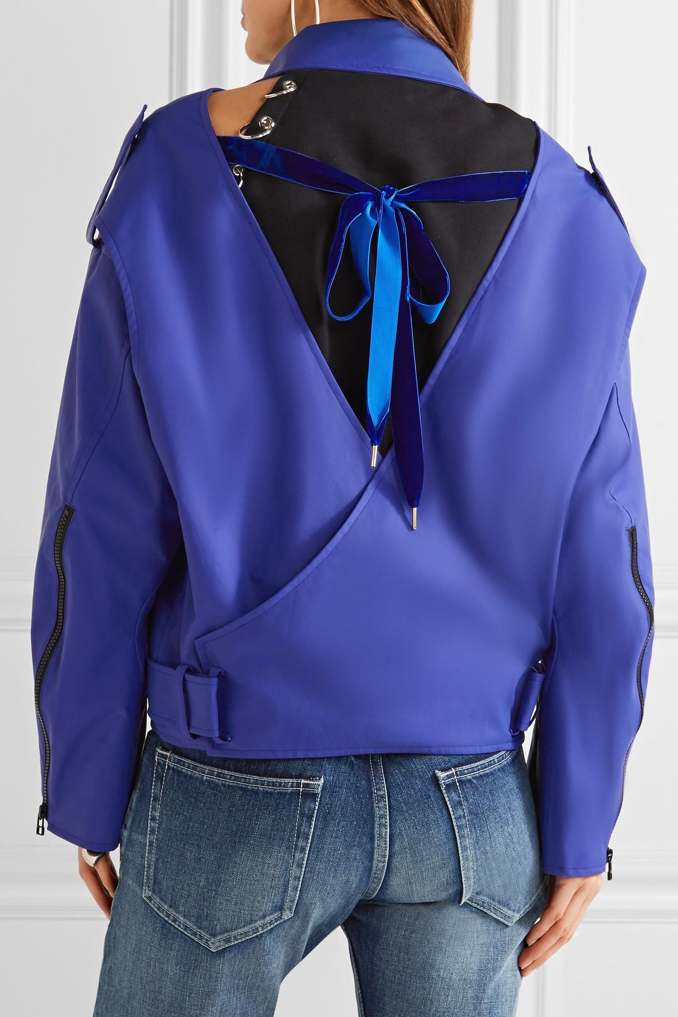 Bright blue leather jacket