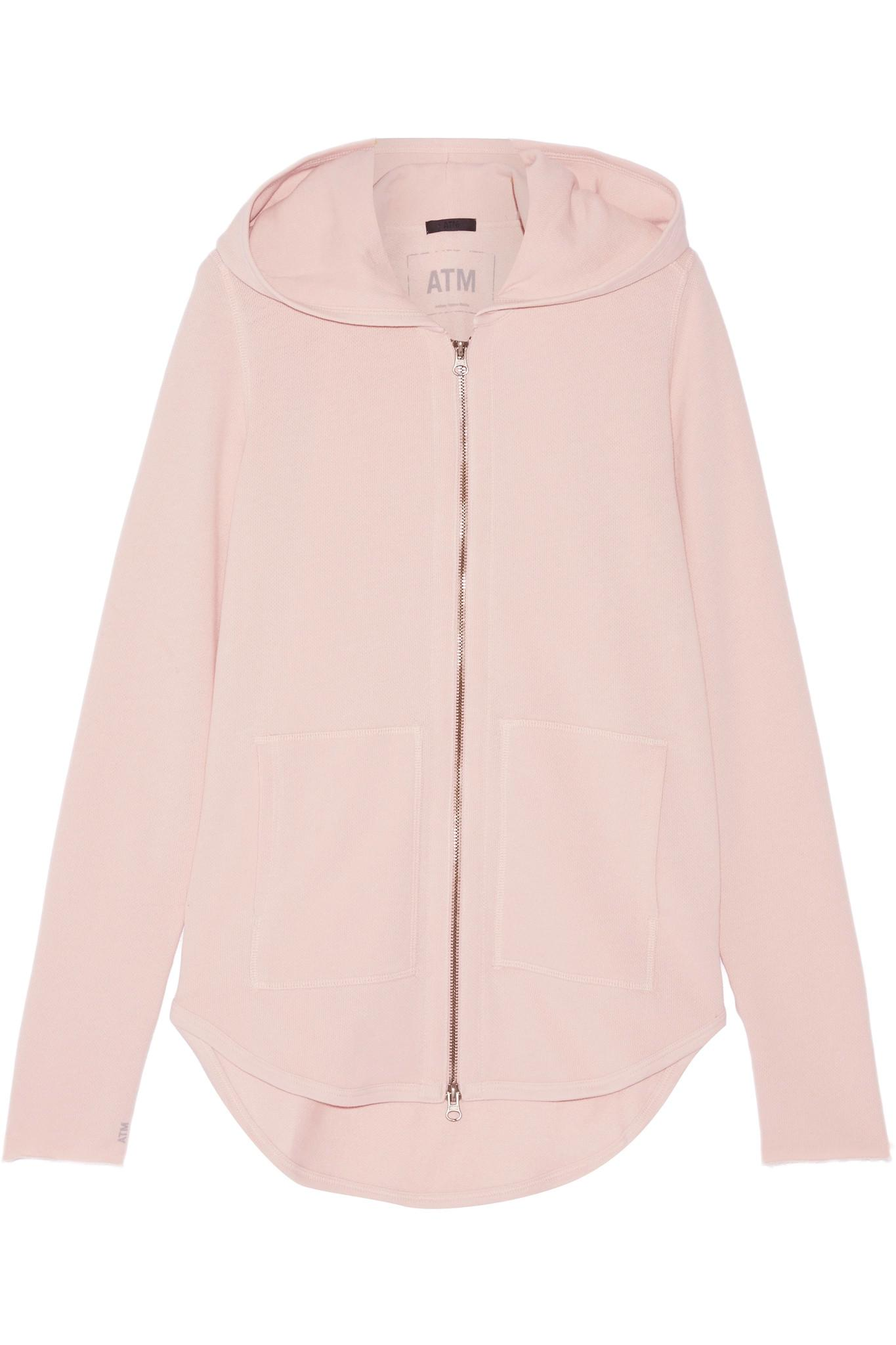 Anthropologie Founder Atm French Cotton Blend Terry Hooded Top In Pink Lyst