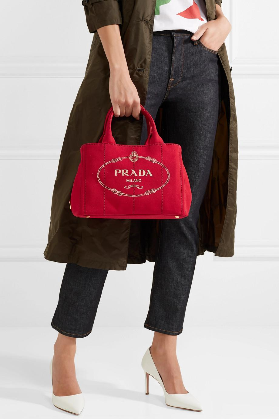 89b7d54067723d Prada Giardiniera Printed Canvas Tote in Red - Lyst