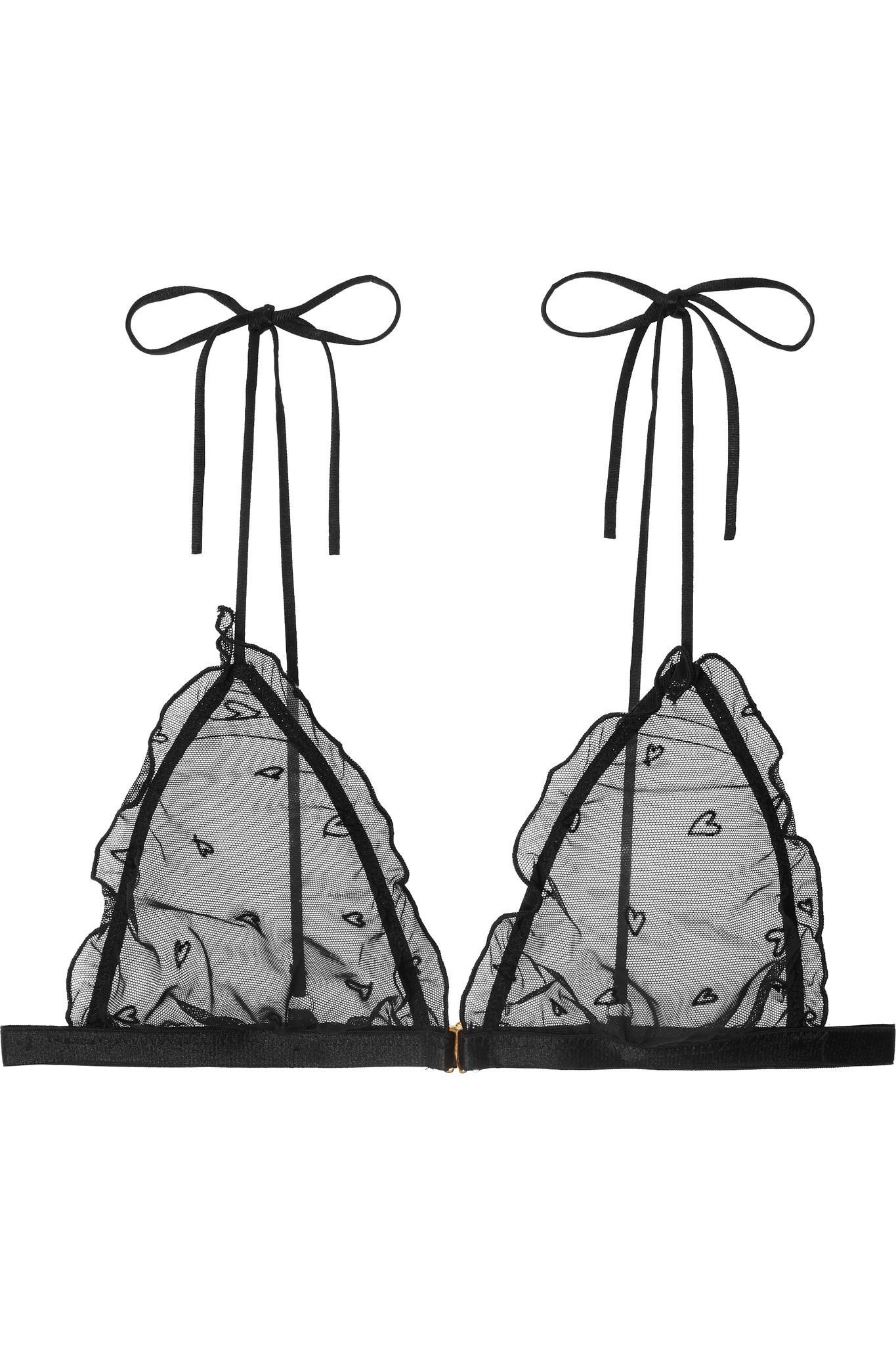 Le Petit Trou. Soutien-gorge Triangle À Bonnets Souples En Tulle Stretch  Floqué À Volants Cerise femme de coloris noir 32739e5ff086