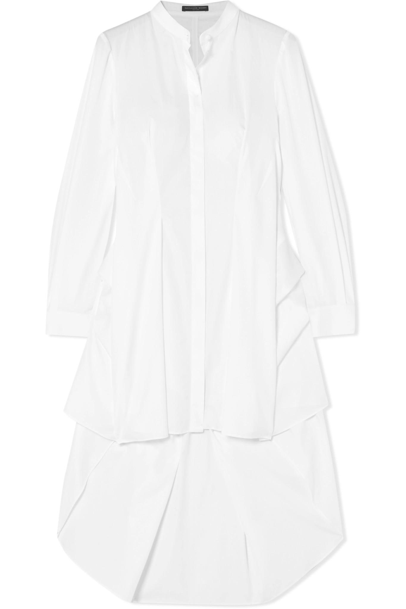 Discounts Draped Cotton-poplin Shirt - White Alexander McQueen Buy Cheap Low Cost Release Dates For Sale UFAOMyz1Q