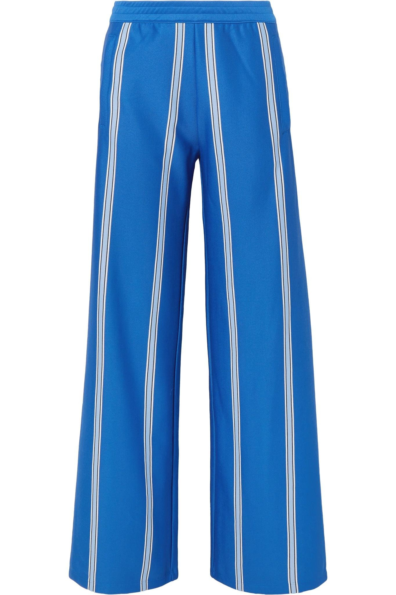 4b8435cc88a1ba Tory Sport Striped Stretch-knit Wide-leg Track Pants in Blue - Lyst