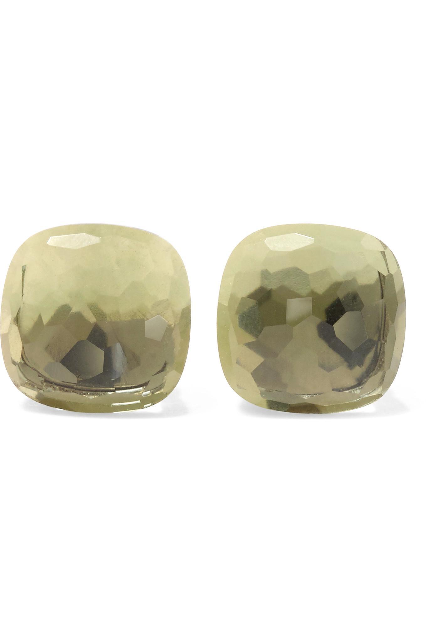 pomellato nudo 18 karat rose gold prasiolite earrings in metallic lyst. Black Bedroom Furniture Sets. Home Design Ideas