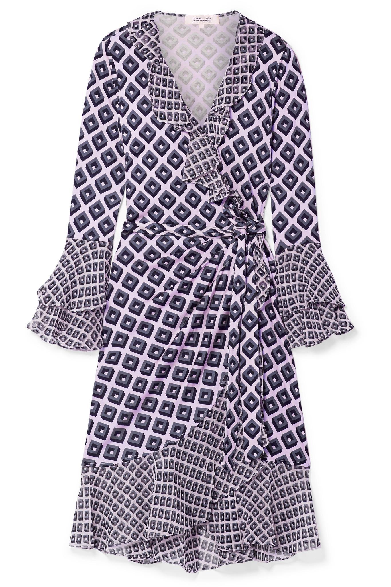 de809a11f58c1a Diane von Furstenberg - Blue Ruffled Printed Silk-crepe And Chiffon Wrap  Dress - Lyst. View fullscreen