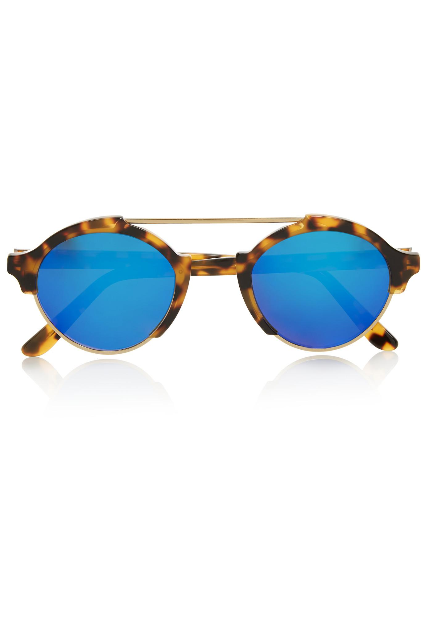 ccb751331ebd4 Lyst - Illesteva Milan Iv Round-frame Gold-tone And Acetate Mirrored ...