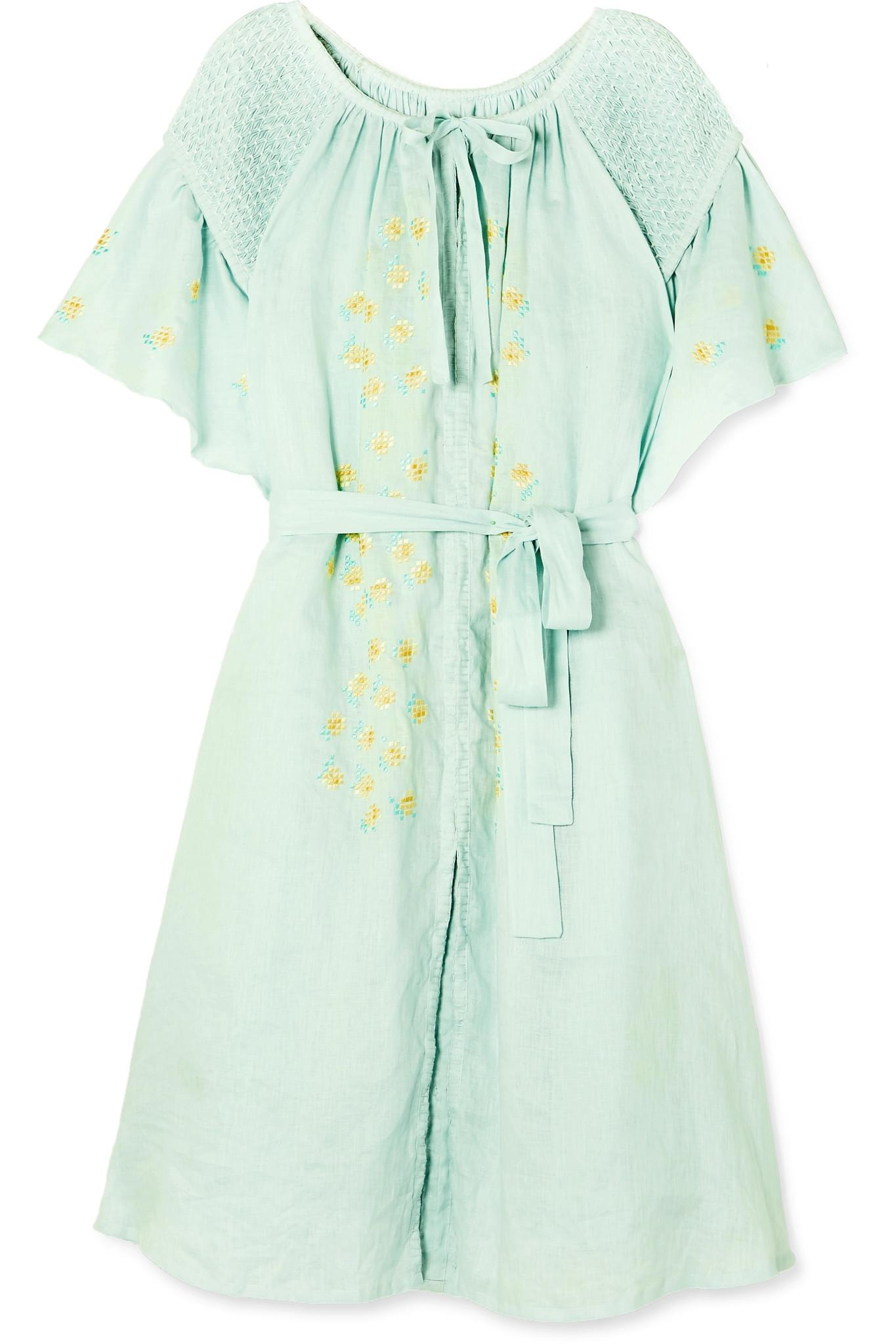 59c00547876b67 innika-choo-light-green-Hugh-Jesmok-Smocked-Embroidered-Linen-Dress.jpeg