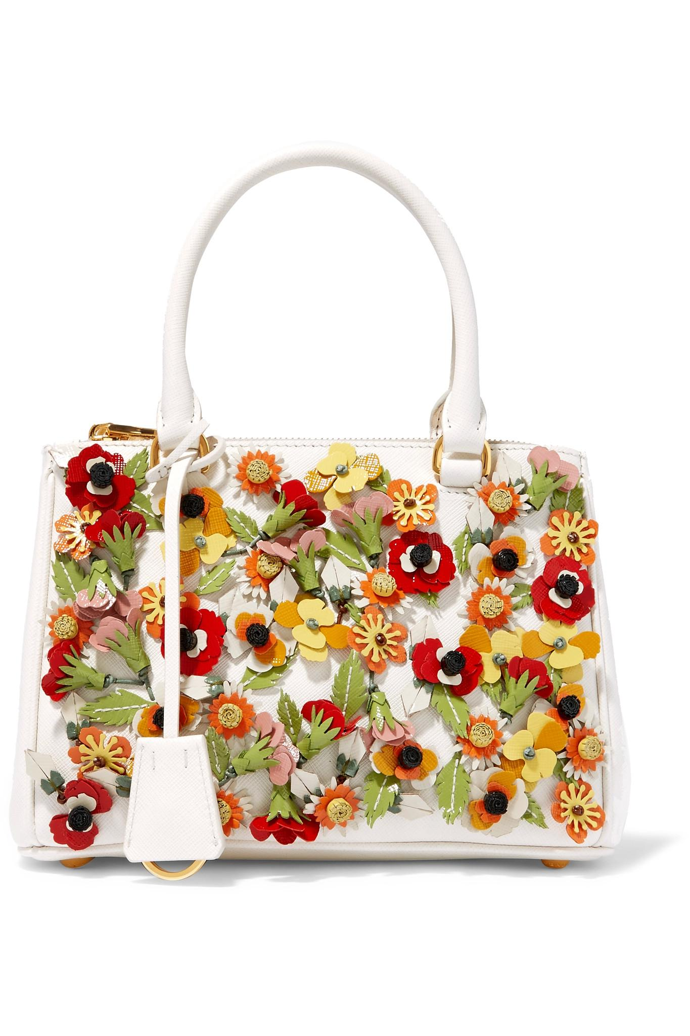 fa8e355ccf5e sweden prada galleria garden mini appliquéd textured leather tote in white  3c771 32d34