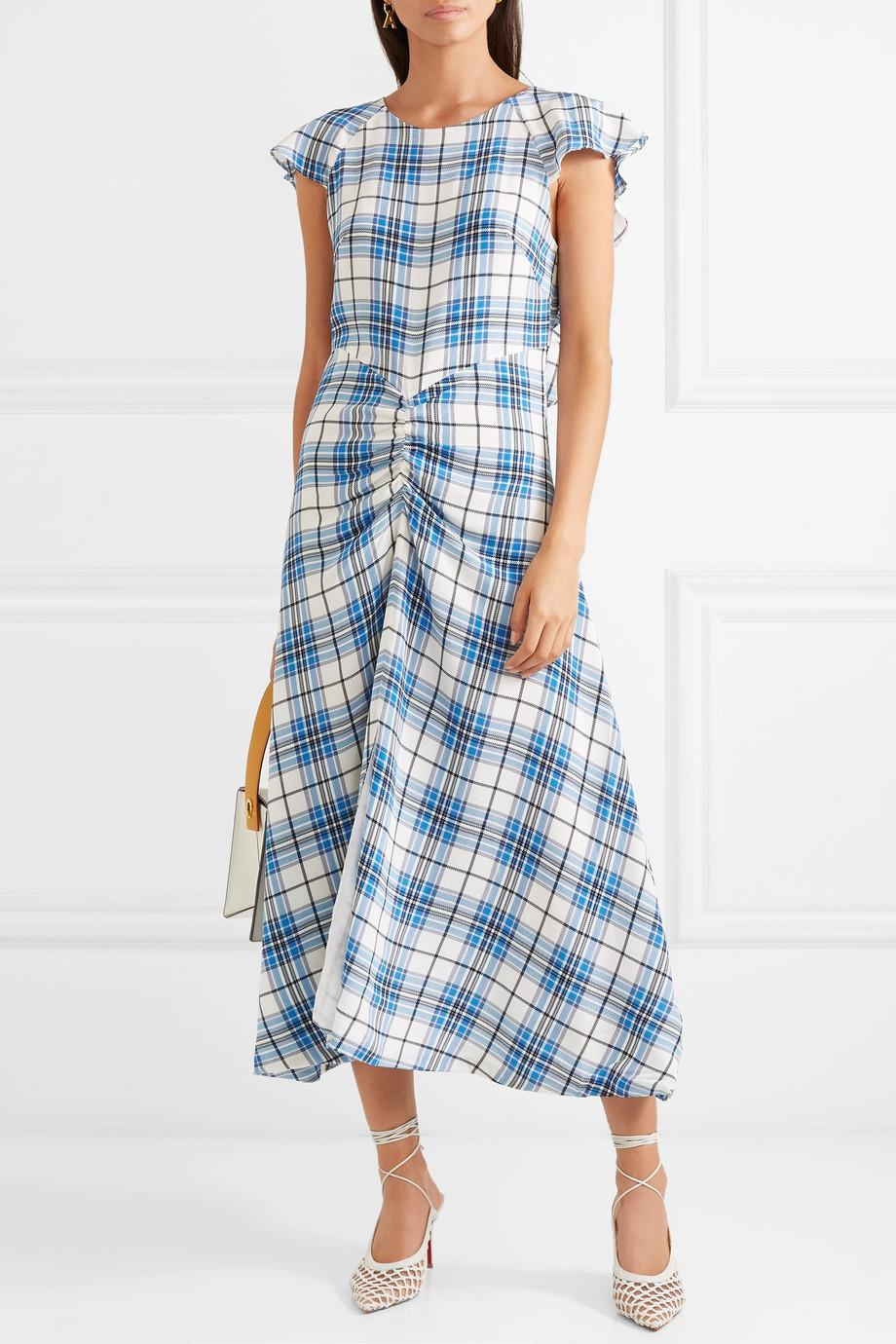 Dutch Ruched Checked Silk Midi Dress - Blue Paper London