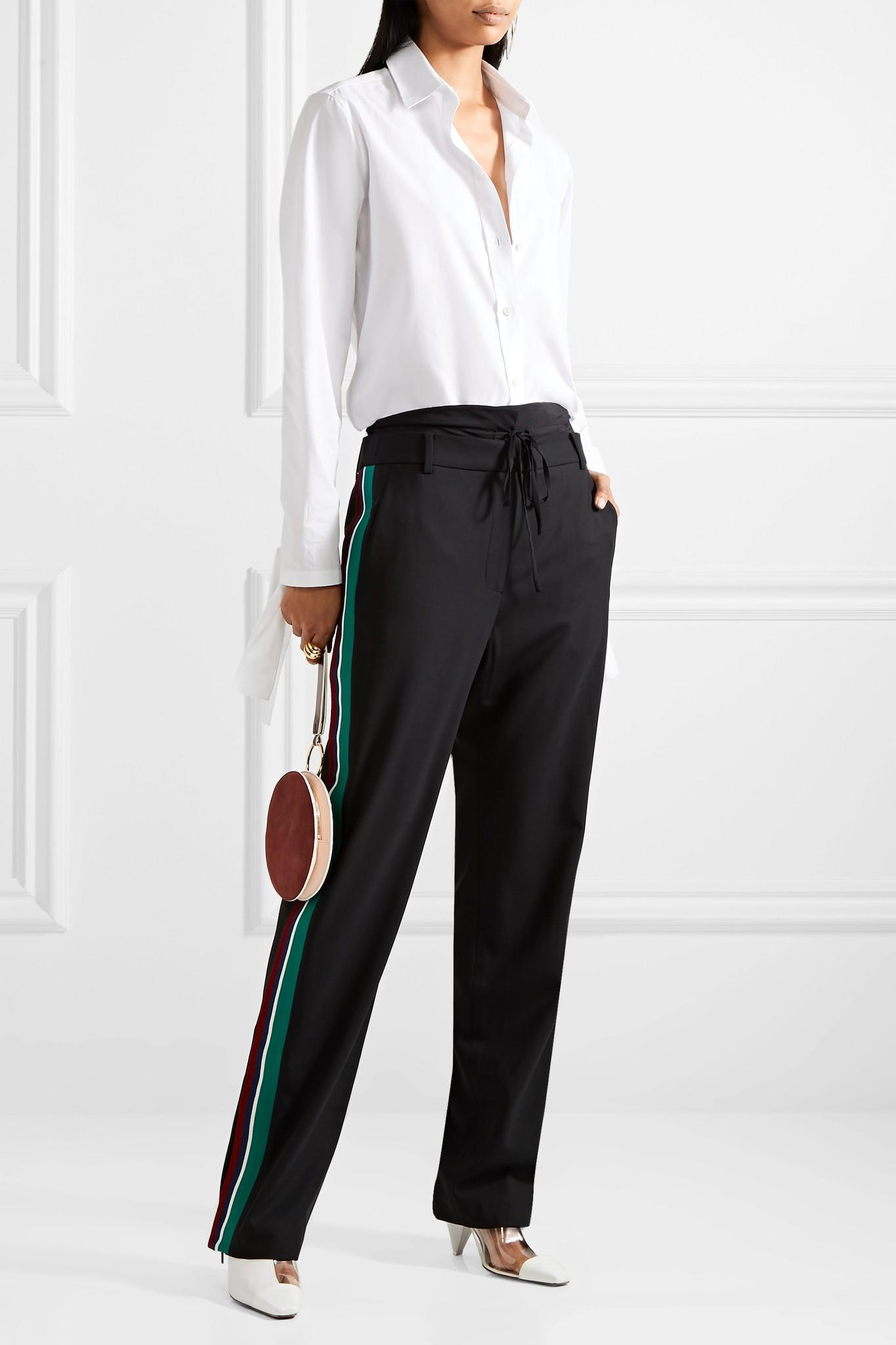 Nicekicks From China Online Dempsey Striped Silk-trimmed Crepe Straight-leg Pants - Black Tibi Great Deals Outlet Clearance Store UoEUsdeJJY