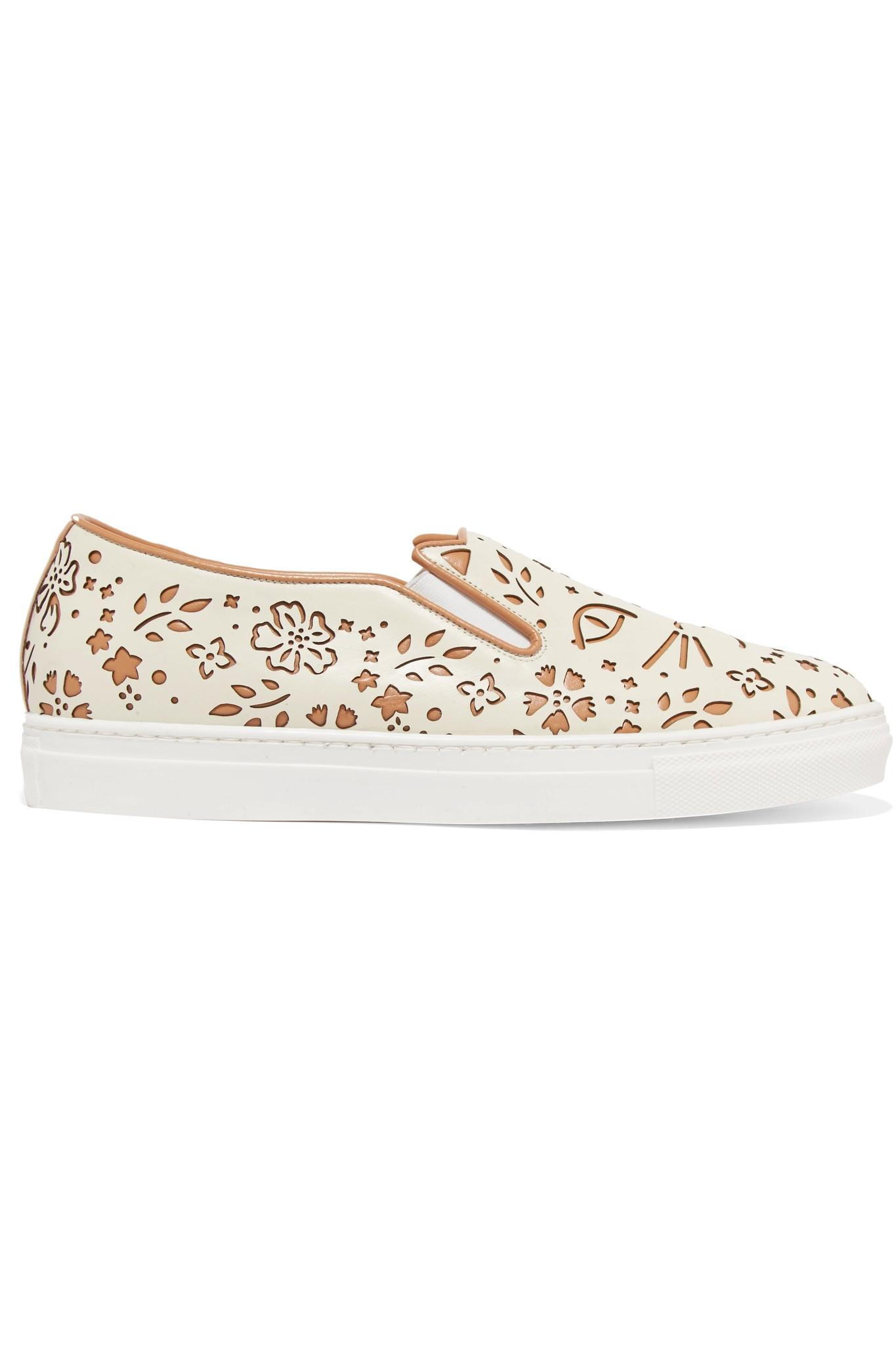 Good Quality Charlotte Olympia Cool Cats laser cut leather sneakers Cream tan Women